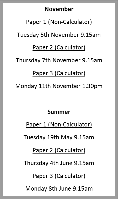 Exam Dates 2019/2020